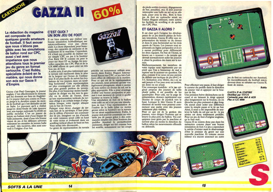 Gazza II Amstrad Cent Pour Cent Review