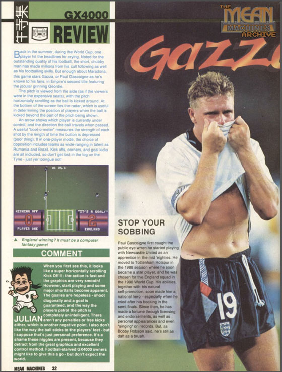 Gazza II Mean Machines Review Page 1